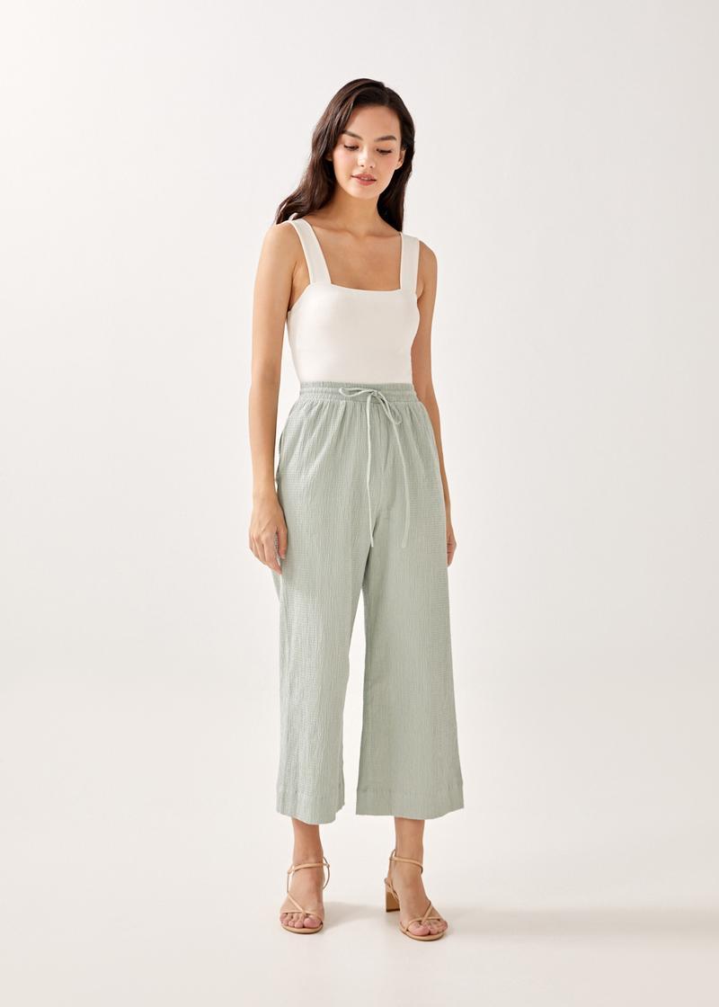 Iva Textured Elastic Waist Pants