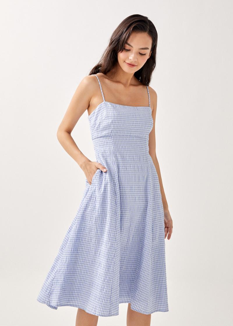 Axella Textured Back Cut Out Midi Dress