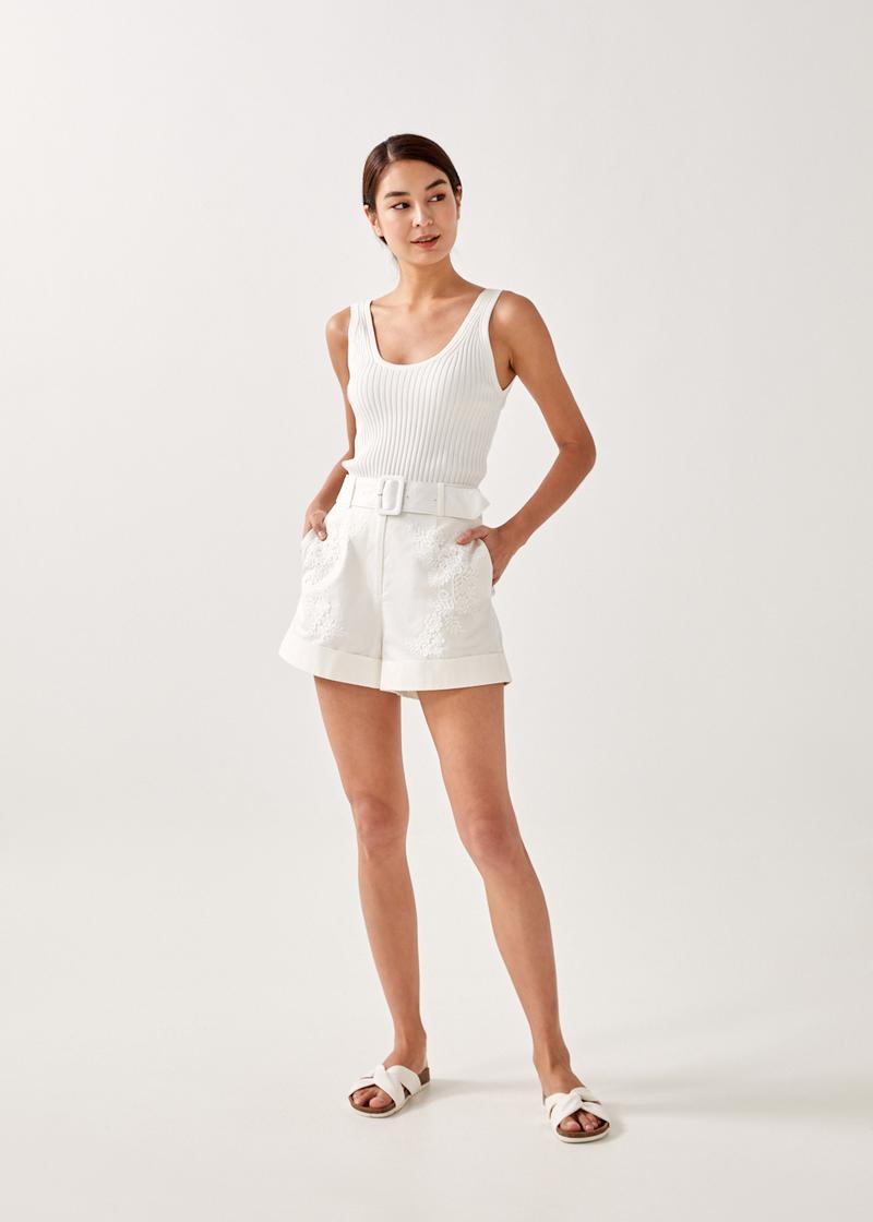 Darina Lace Belted Shorts