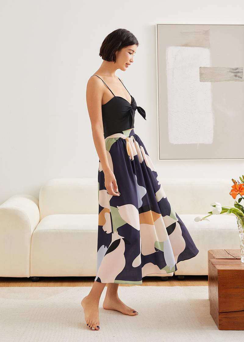 Gracen Ruched Flare Midi Skirt in Alluring Bloom