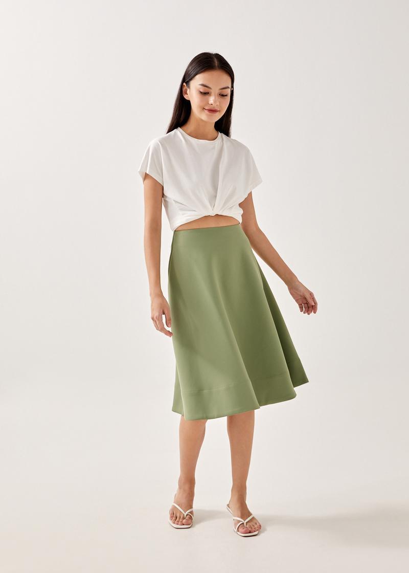 Brianna Neoprene Midi Skirt