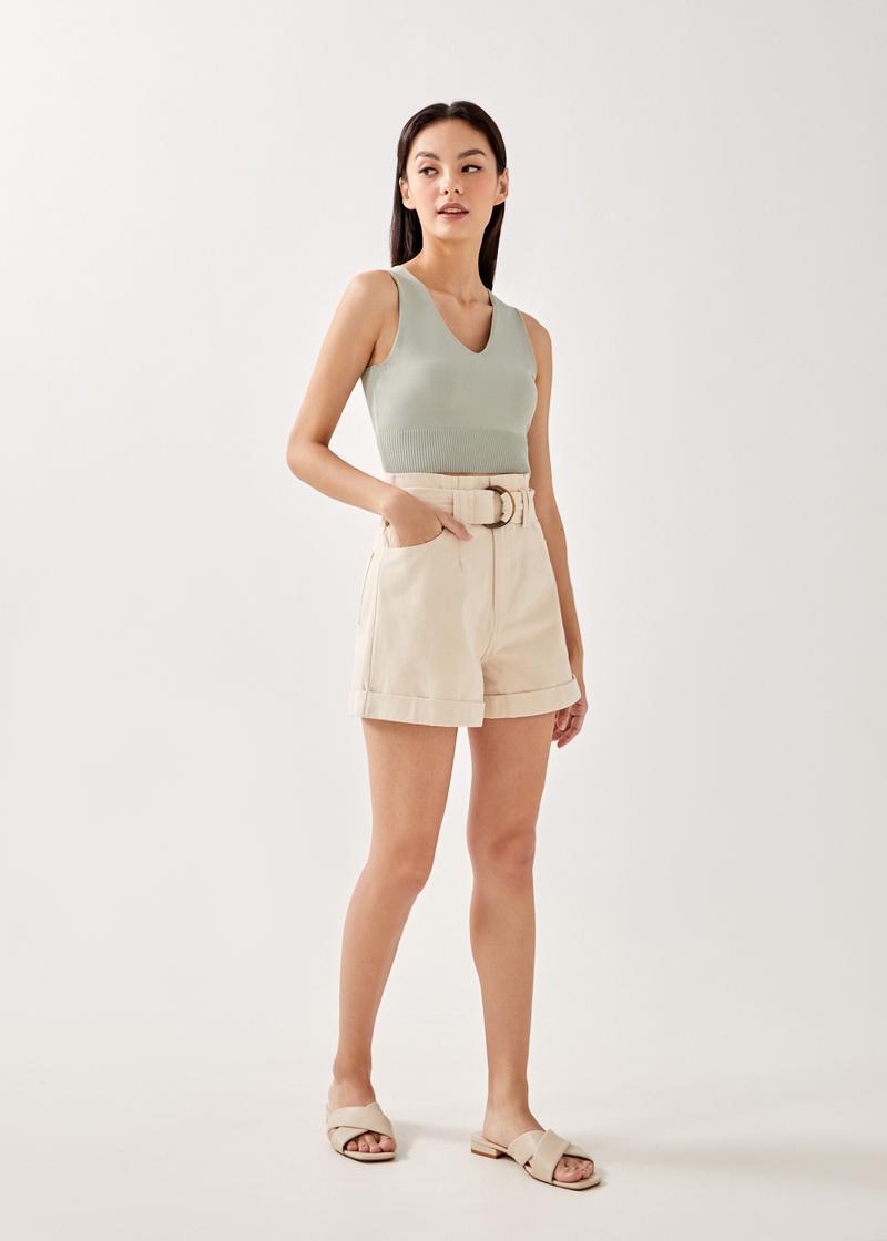 Aviva Belted Paper Bag Shorts