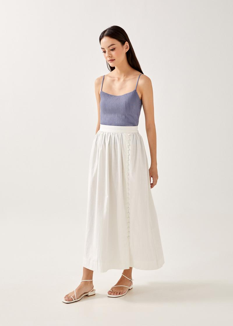 Alda Elastic Button Down Midi Skirt
