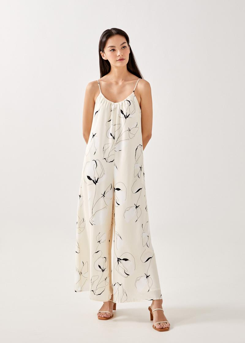 Sadella Relaxed Wide Leg Jumpsuit in Floral Odyssey
