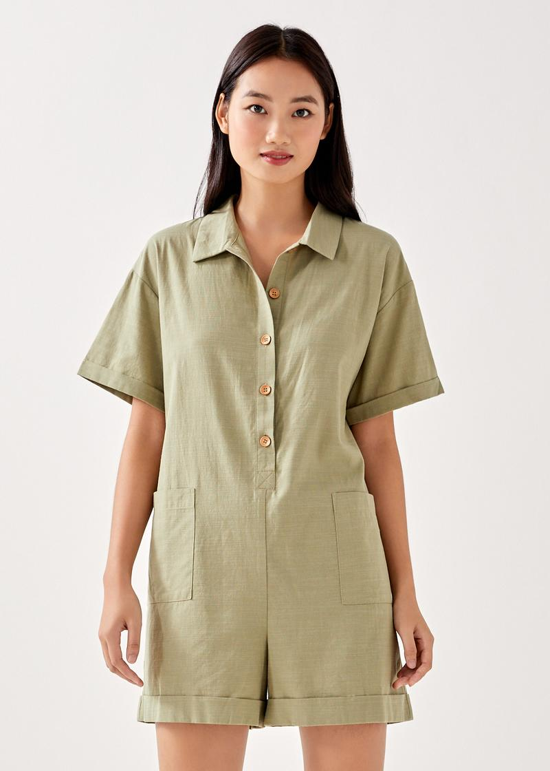 Coralie Relaxed Shirt Romper