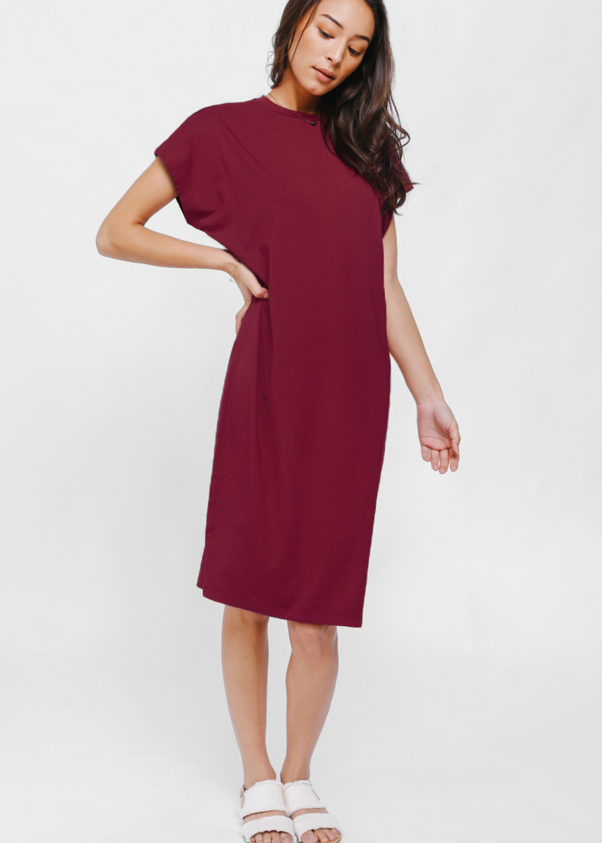 Dealyz Drape Crew Neck T-shirt Dress