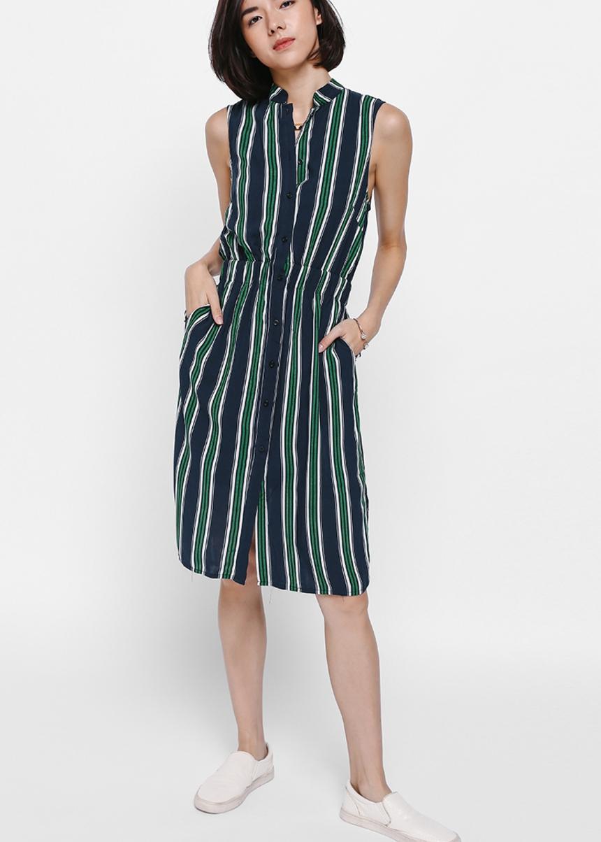 Melrese Striped Shirt Dress