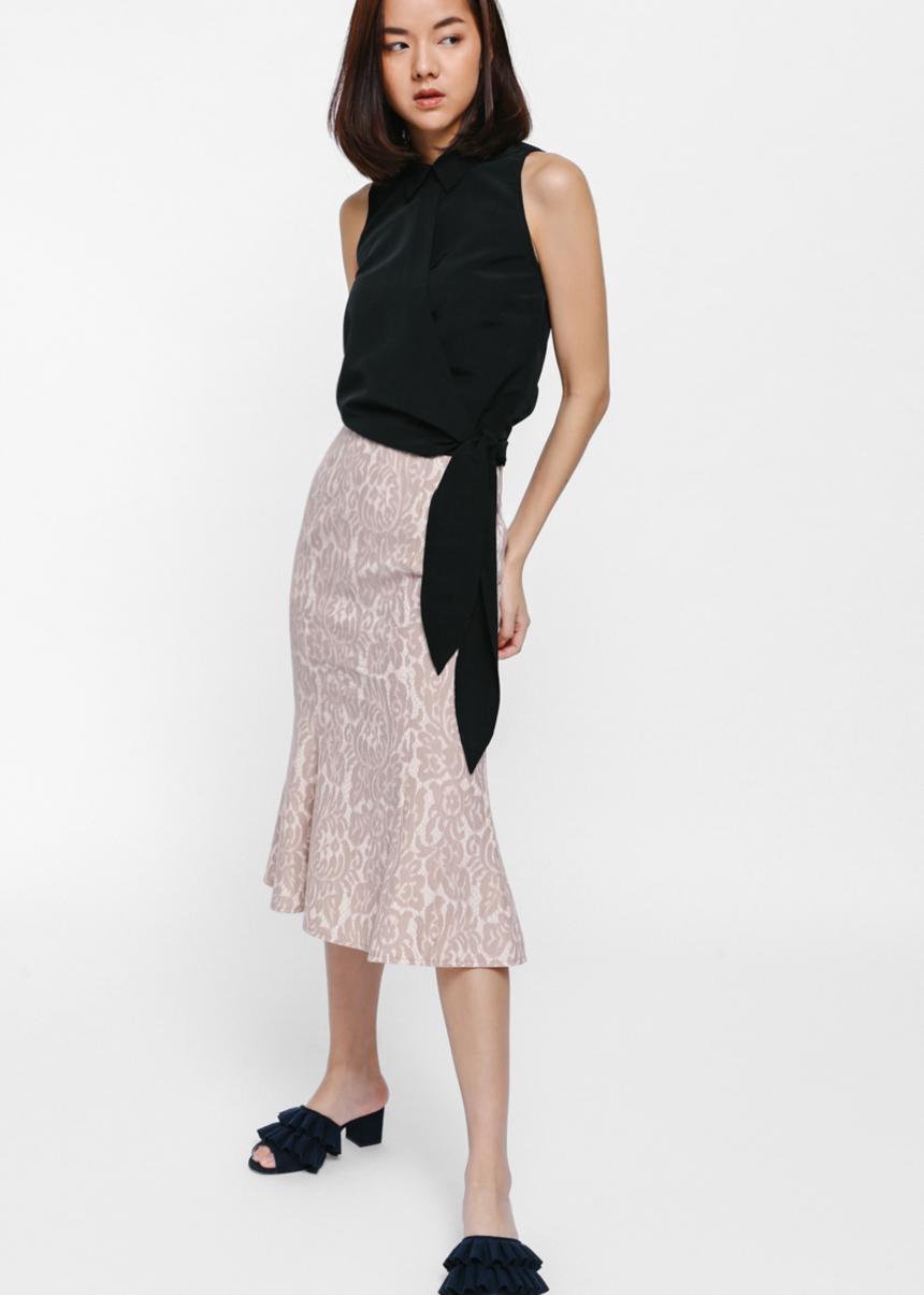 Dinara Foldover Sash Wrap Shirt-014-M
