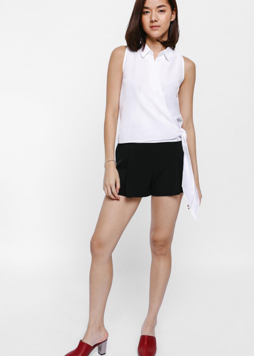Dinara Foldover Sash Wrap Shirt-031-XS