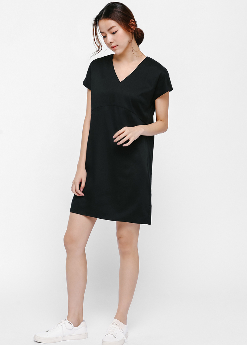 Jess Relaxed Fit V-neck Dress-014-XS