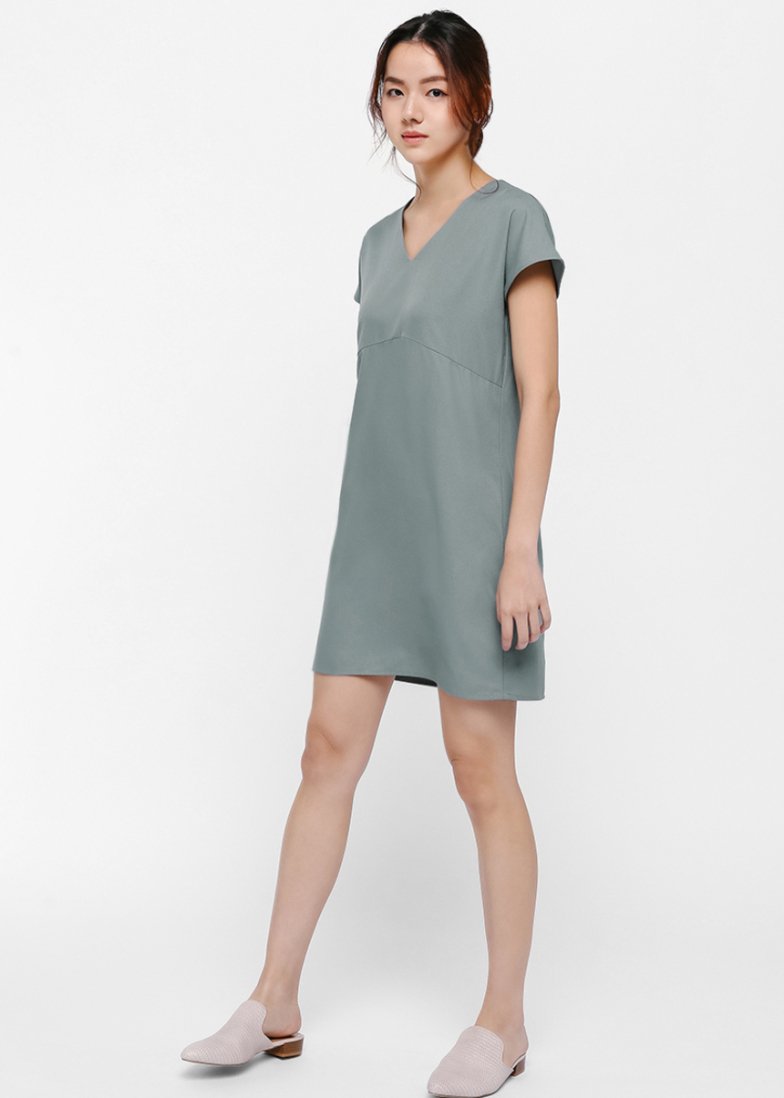 Jess Relaxed Fit V-neck Dress-231-XS