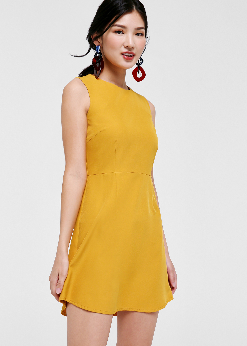 Desiree Curved Hem A-line Dress-091-XS