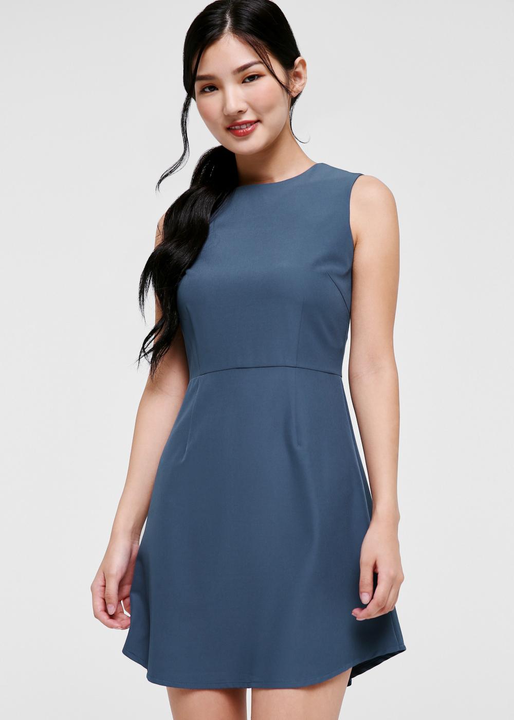 Desiree Curved Hem A-line Dress-231-XS