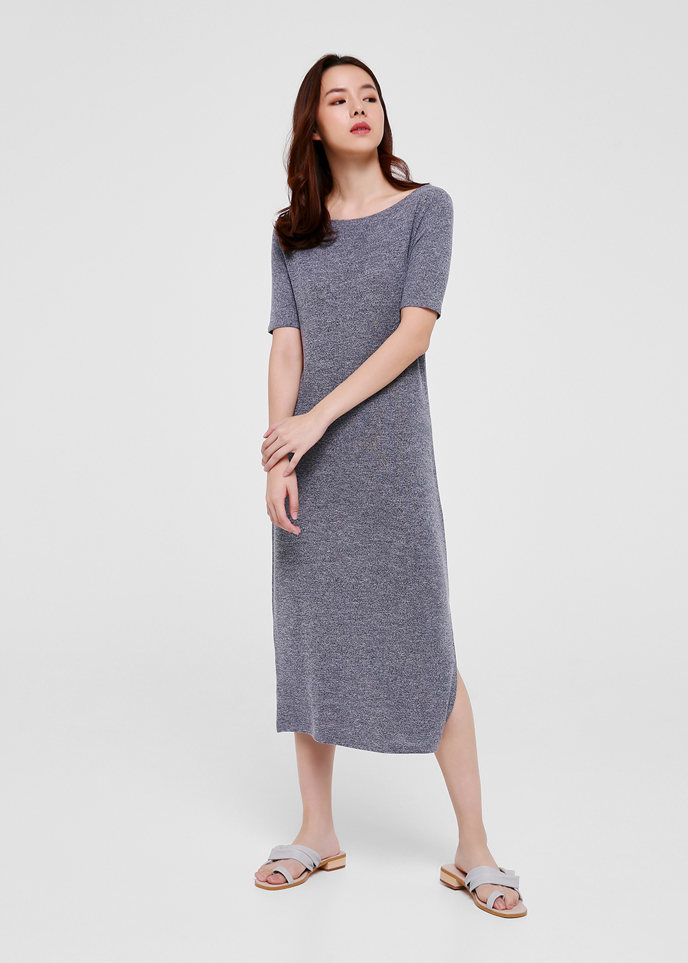 Dara Slit Midi T-shirt Dress-052-XS