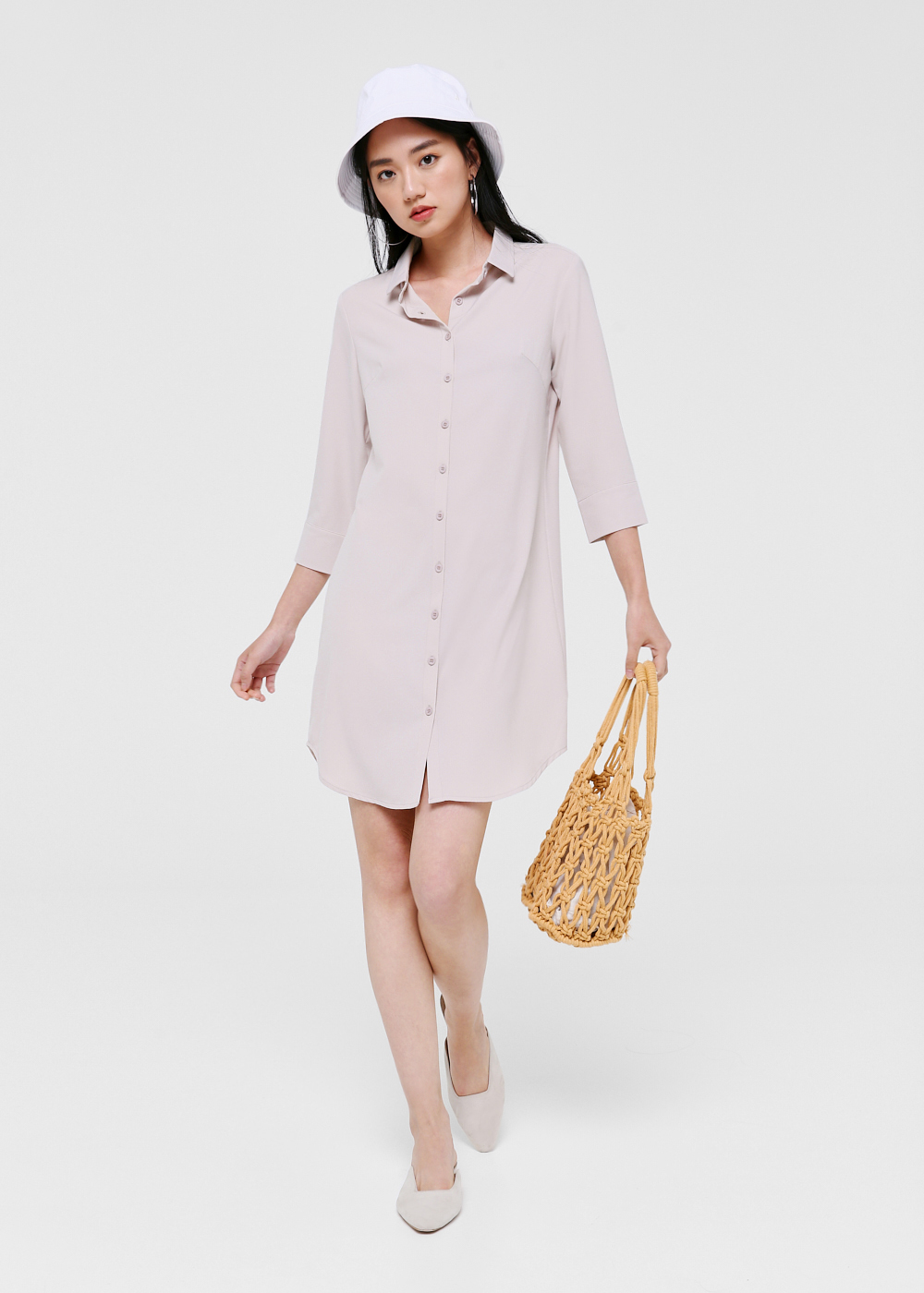 Kendra Button Down Shirt Dress-122-XS