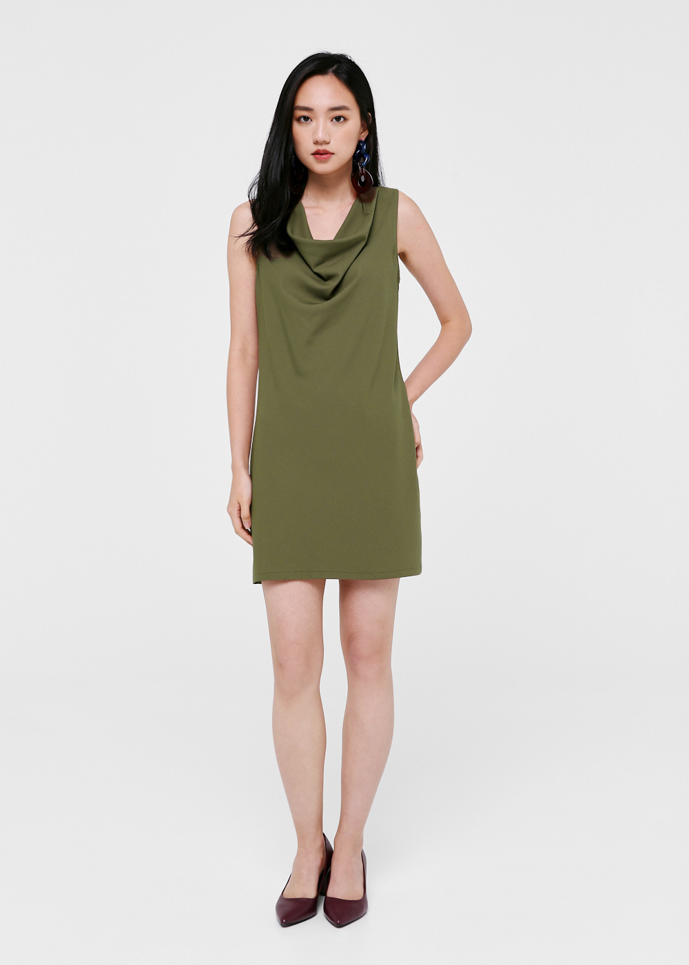 Carissa Cowl Neck Shift Dress-079-XS